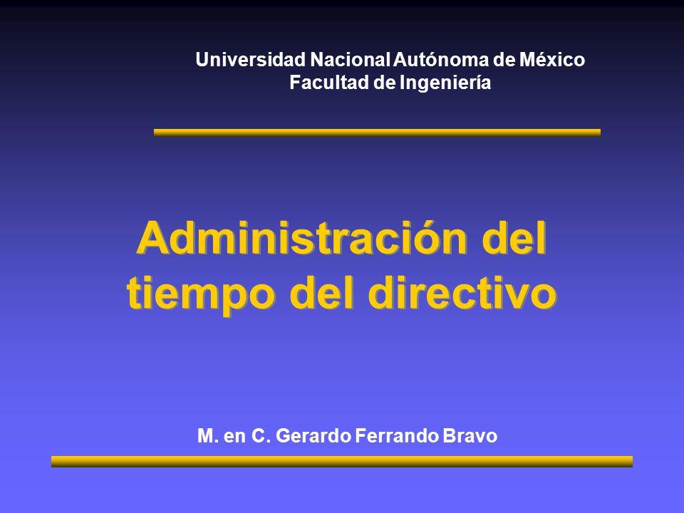 Universidad Nacional Autónoma de México Facultad de Ingeniería Administración del tiempo del directivo M.