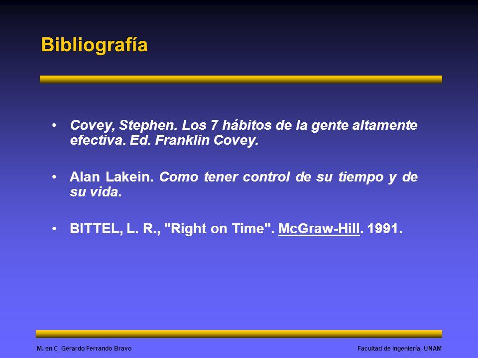 Facultad de Ingeniería, UNAMM.en C. Gerardo Ferrando Bravo Bibliografía Covey, Stephen.