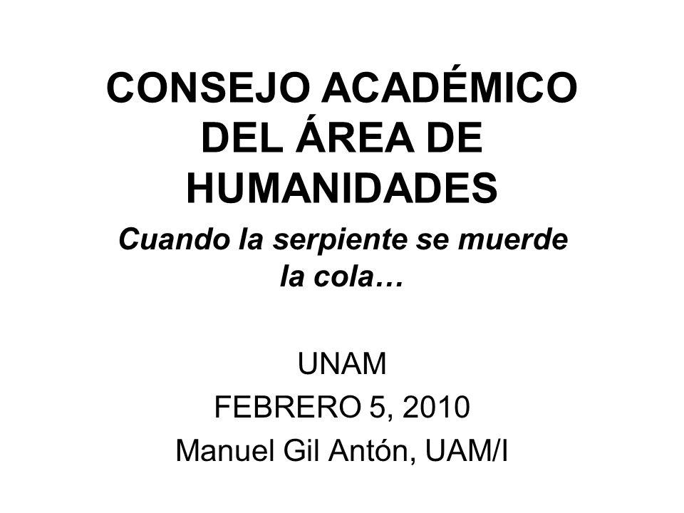 CONSEJO ACADÉMICO DEL ÁREA DE HUMANIDADES Cuando la serpiente se muerde la cola… UNAM FEBRERO 5, 2010 Manuel Gil Antón, UAM/I