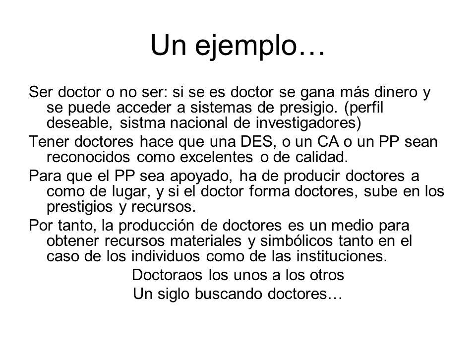 Un ejemplo… Ser doctor o no ser: si se es doctor se gana más dinero y se puede acceder a sistemas de presigio.