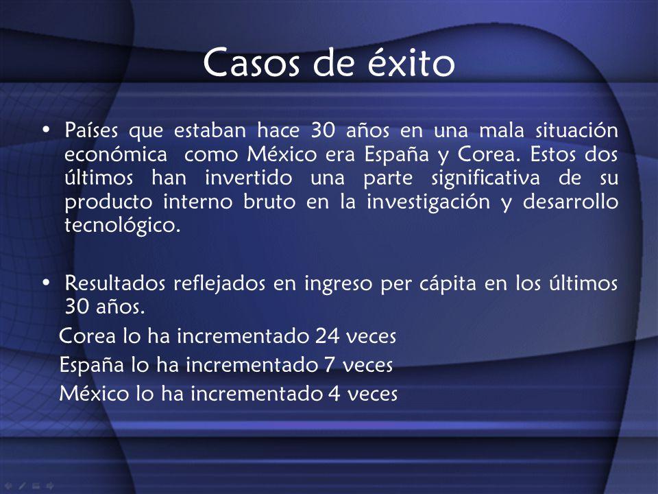 Casos de éxito Países que estaban hace 30 años en una mala situación económica como México era España y Corea. Estos dos últimos han invertido una par