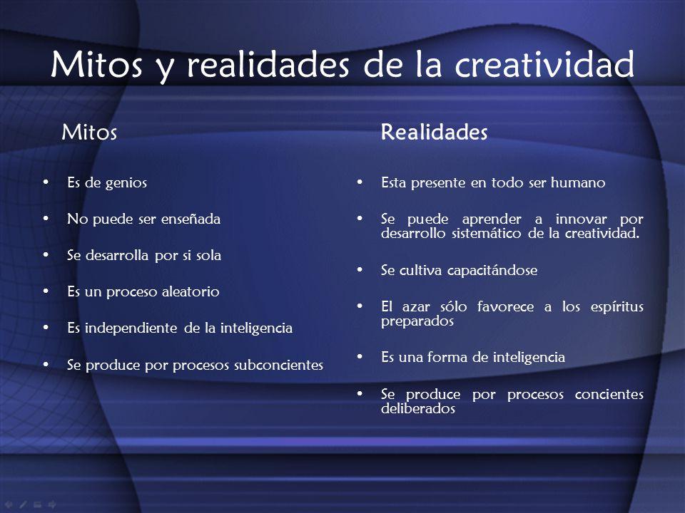 Mitos y realidades de la creatividad Mitos Es de genios No puede ser enseñada Se desarrolla por si sola Es un proceso aleatorio Es independiente de la