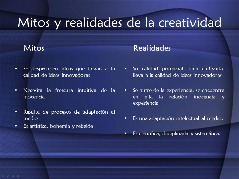 Mitos y realidades de la creatividad Mitos Se desprenden ideas que llevan a la calidad de ideas innovadoras Necesita la frescura intuitiva de la inoce