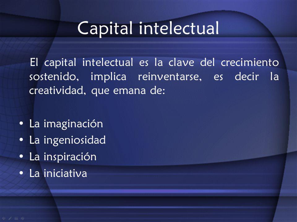Capital intelectual El capital intelectual es la clave del crecimiento sostenido, implica reinventarse, es decir la creatividad, que emana de: La imag