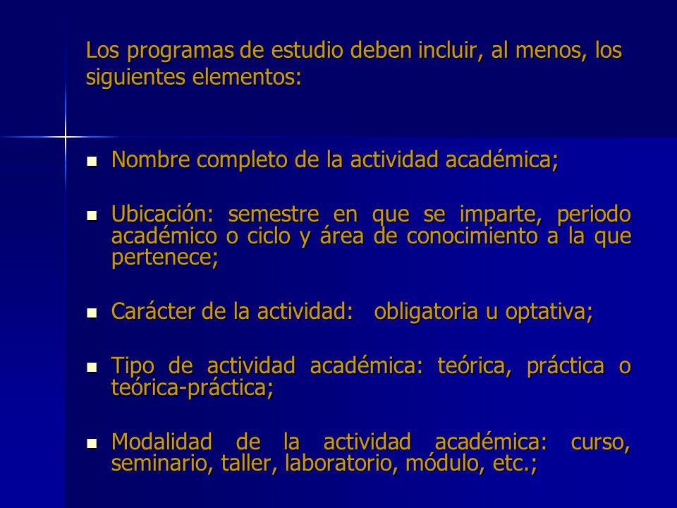 Los programas de estudio deben incluir, al menos, los siguientes elementos: Nombre completo de la actividad académica; Nombre completo de la actividad