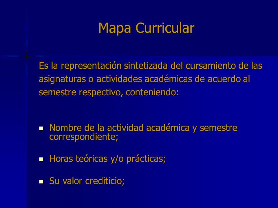 Mapa Curricular Es la representación sintetizada del cursamiento de las asignaturas o actividades académicas de acuerdo al semestre respectivo, conten