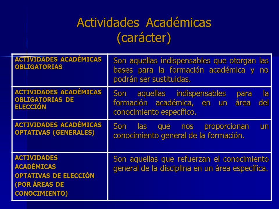 Actividades Académicas (carácter) ACTIVIDADES ACADÉMICAS OBLIGATORIAS Son aquellas indispensables que otorgan las bases para la formación académica y