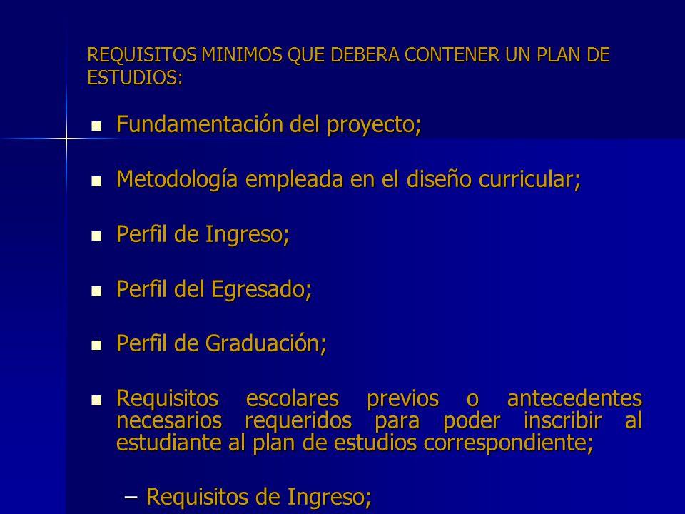 REQUISITOS MINIMOS QUE DEBERA CONTENER UN PLAN DE ESTUDIOS: Fundamentación del proyecto; Fundamentación del proyecto; Metodología empleada en el diseñ