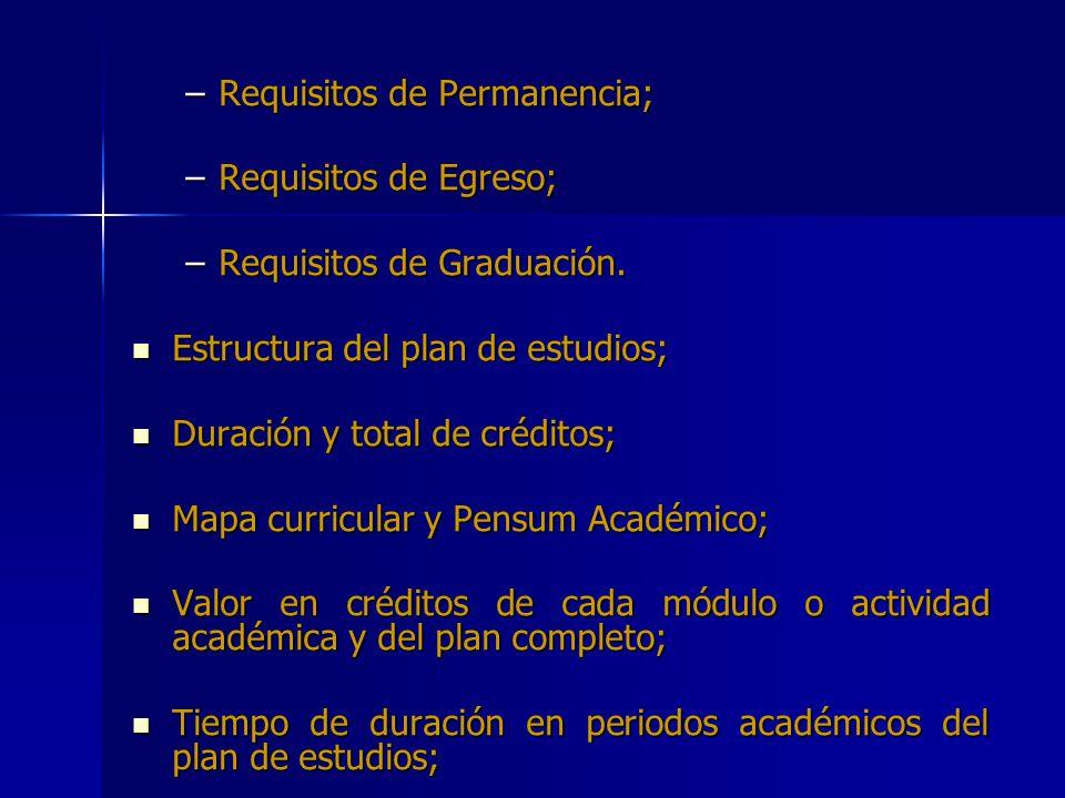 –Requisitos de Permanencia; –Requisitos de Egreso; –Requisitos de Graduación. Estructura del plan de estudios; Estructura del plan de estudios; Duraci