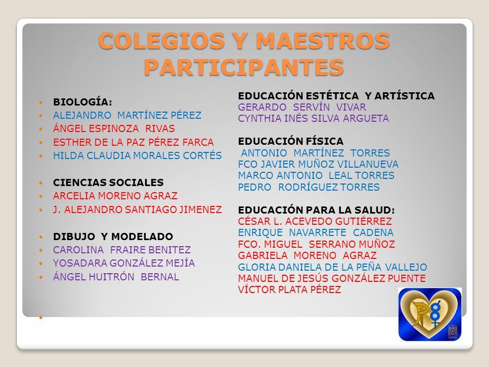 COLEGIOS Y MAESTROS PARTICIPANTES FILOSOFÍA ALFREDO CANTE VALENCIA ANA LAURA GÓMEZ MONTES DE OCA ANA SILVINA VELÁZQUEZ VARGAS FÍSICA RENÉ CISNEROS SANDOVAL GEOGRAFÍA EDU ALBERTO CRUZ LECONA HISTORIA MA EUGENIA VILCHIS COLÍN ROSARIO BENITEZ GARCÍA VERONICA ELIZALDE LÓPEZ INFORMÁTICA JAIME ROSAS ROSAS RUBÍ SÁNCHEZ HERNÁNDEZ LENGUAS EXTRANJERAS ROSA PACHECO GARCÍA LITERATURA FABIOLA BLANCAS GÓMEZ LATIN, ETIMOLOGÍA Y GRIEGO PINEDA AGUIRRE JESÚS ARMANDO MATEMÁTICAS CÉSAR BRISEÑO MIRANDA JOSÉ MANUEL BECERRA ESPINOSA