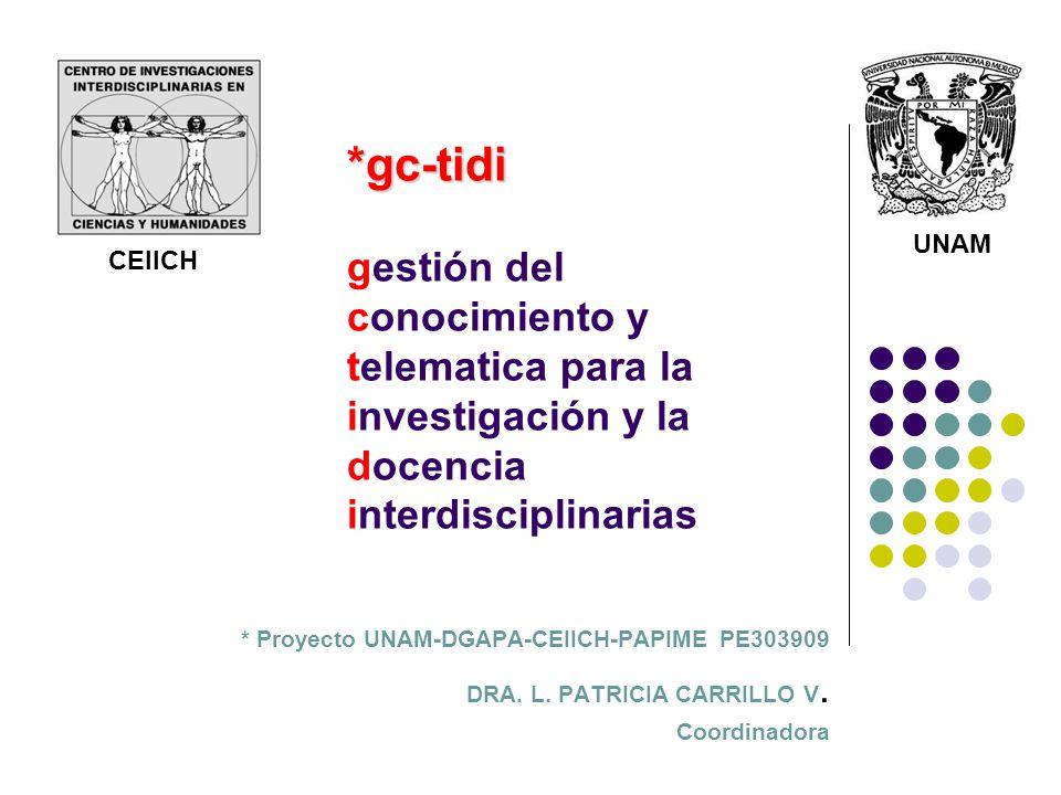 *gc-tidi *gc-tidi gestión del conocimiento y telematica para la investigación y la docencia interdisciplinarias * Proyecto UNAM-DGAPA-CEIICH-PAPIME PE303909 DRA.