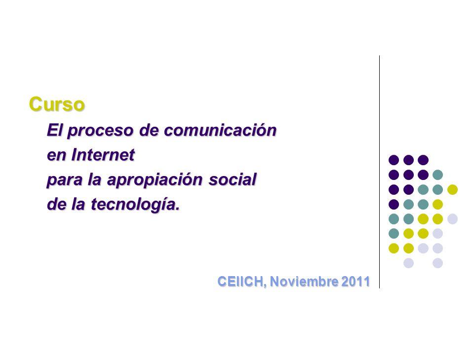 Curso El proceso de comunicación en Internet para la apropiación social de la tecnología.