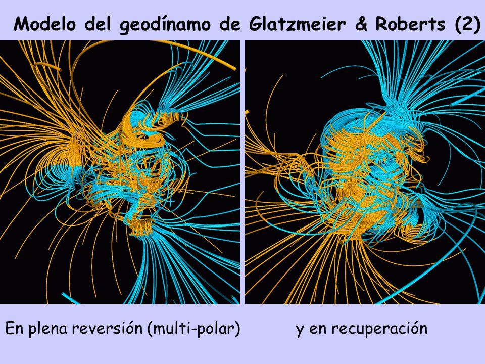 Modelo del geodínamo de Glatzmeier & Roberts (2) En plena reversión (multi-polar) y en recuperación