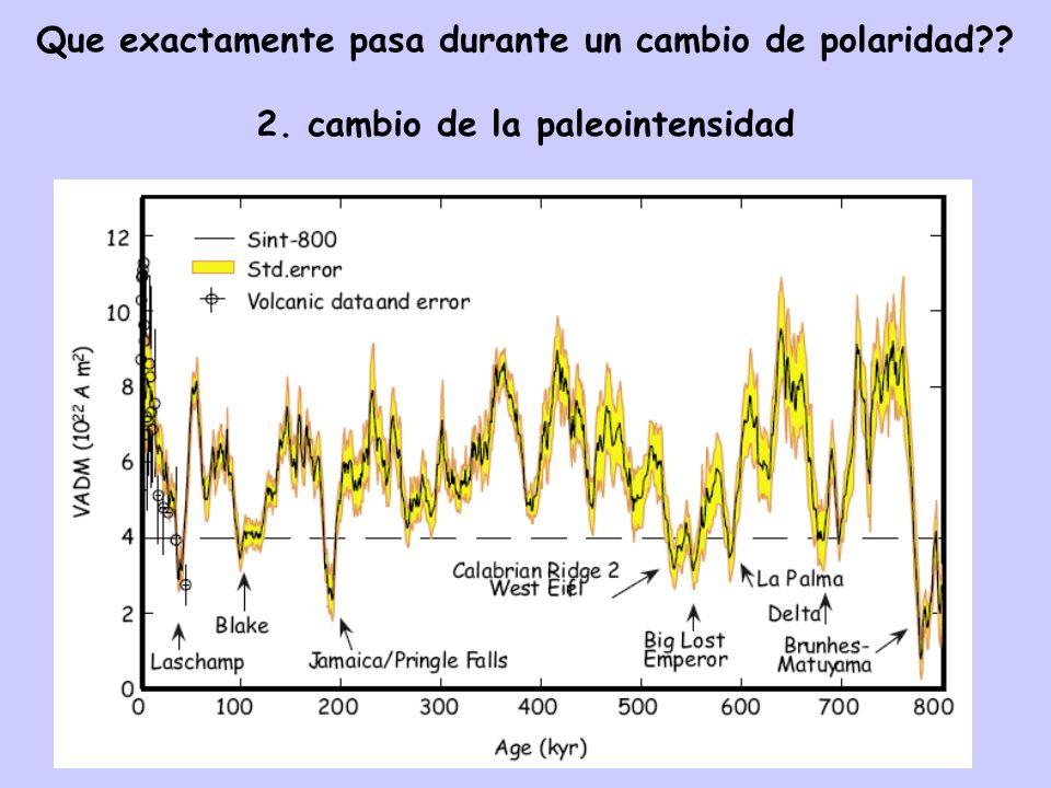 Que exactamente pasa durante un cambio de polaridad?? 2. cambio de la paleointensidad