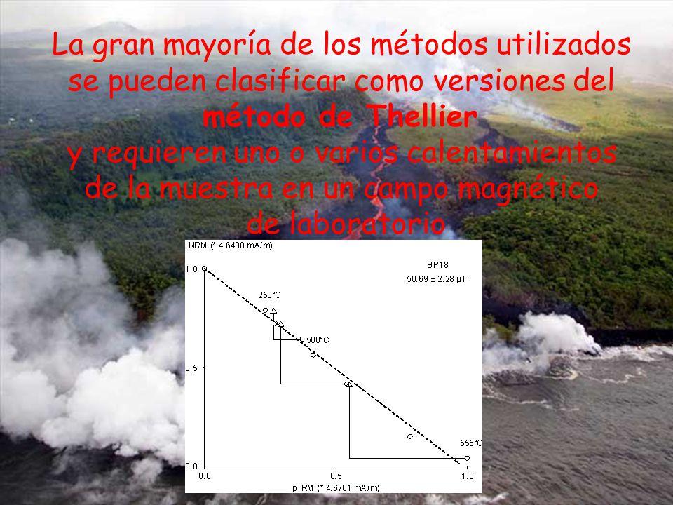 La gran mayoría de los métodos utilizados se pueden clasificar como versiones del método de Thellier y requieren uno o varios calentamientos de la muestra en un campo magnético de laboratorio