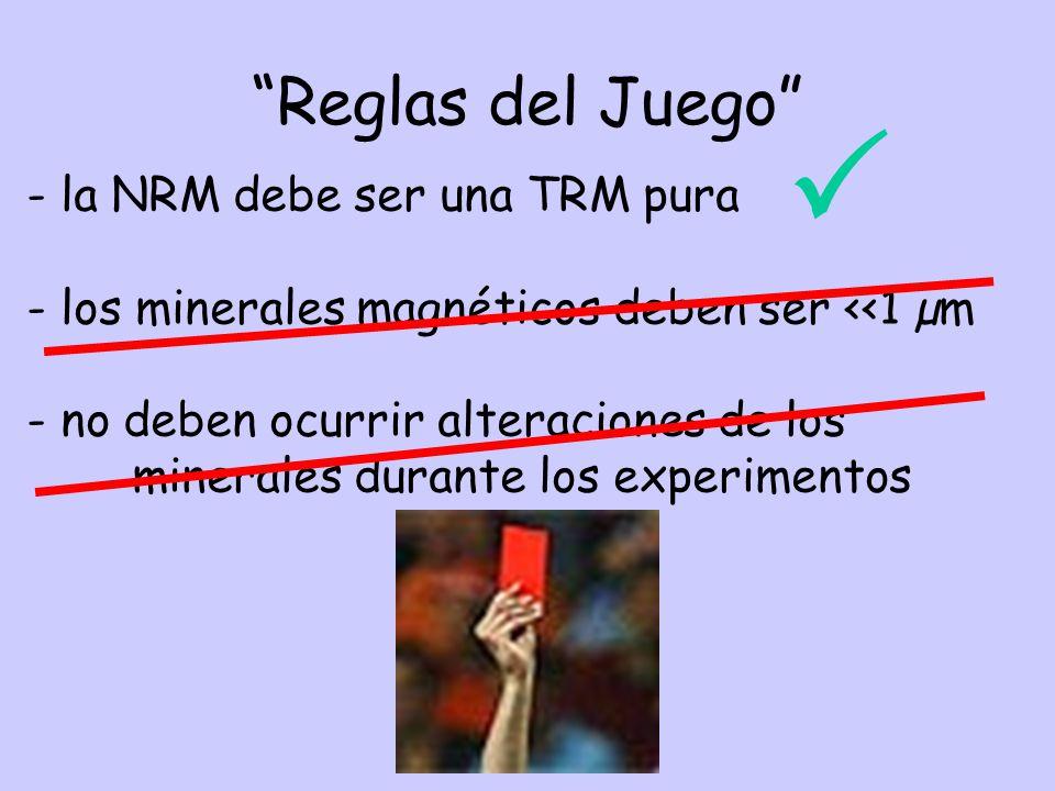 Reglas del Juego - la NRM debe ser una TRM pura - los minerales magnéticos deben ser <<1 µm - no deben ocurrir alteraciones de los minerales durante los experimentos