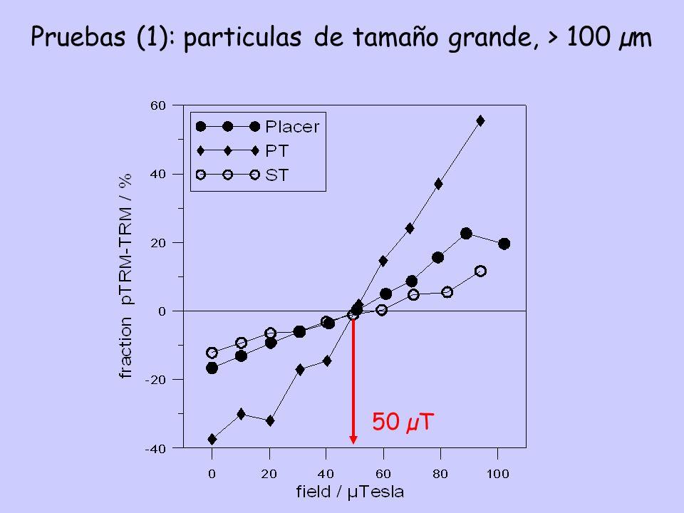 Pruebas (1): particulas de tamaño grande, > 100 µm 50 µT