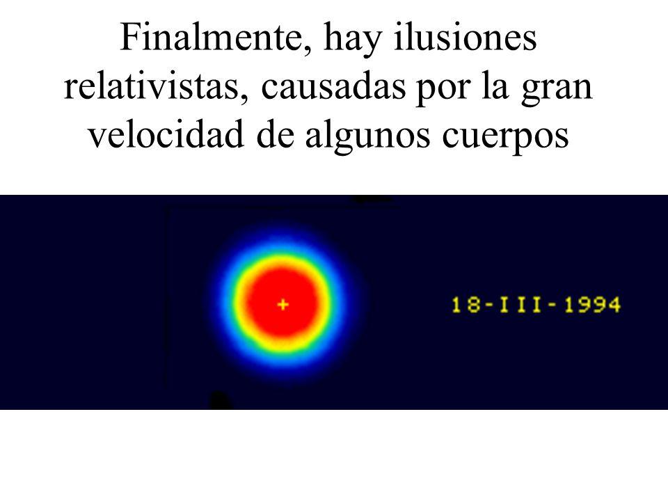 Finalmente, hay ilusiones relativistas, causadas por la gran velocidad de algunos cuerpos