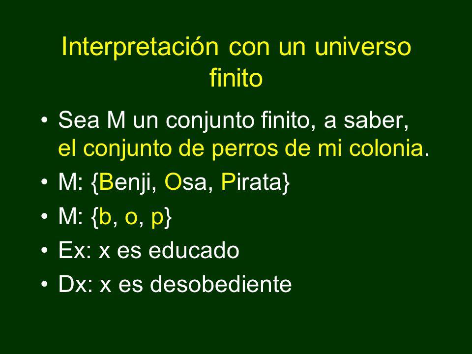 Interpretación con un universo finito Sea M un conjunto finito, a saber, el conjunto de perros de mi colonia.