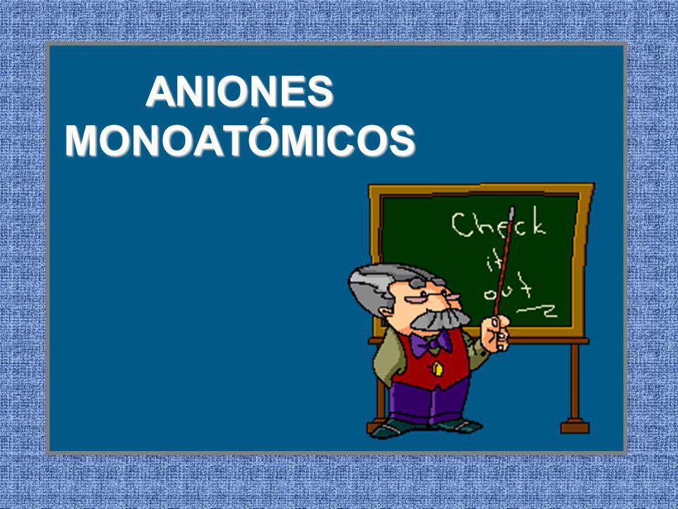 ANIONES MONOATÓMICOS