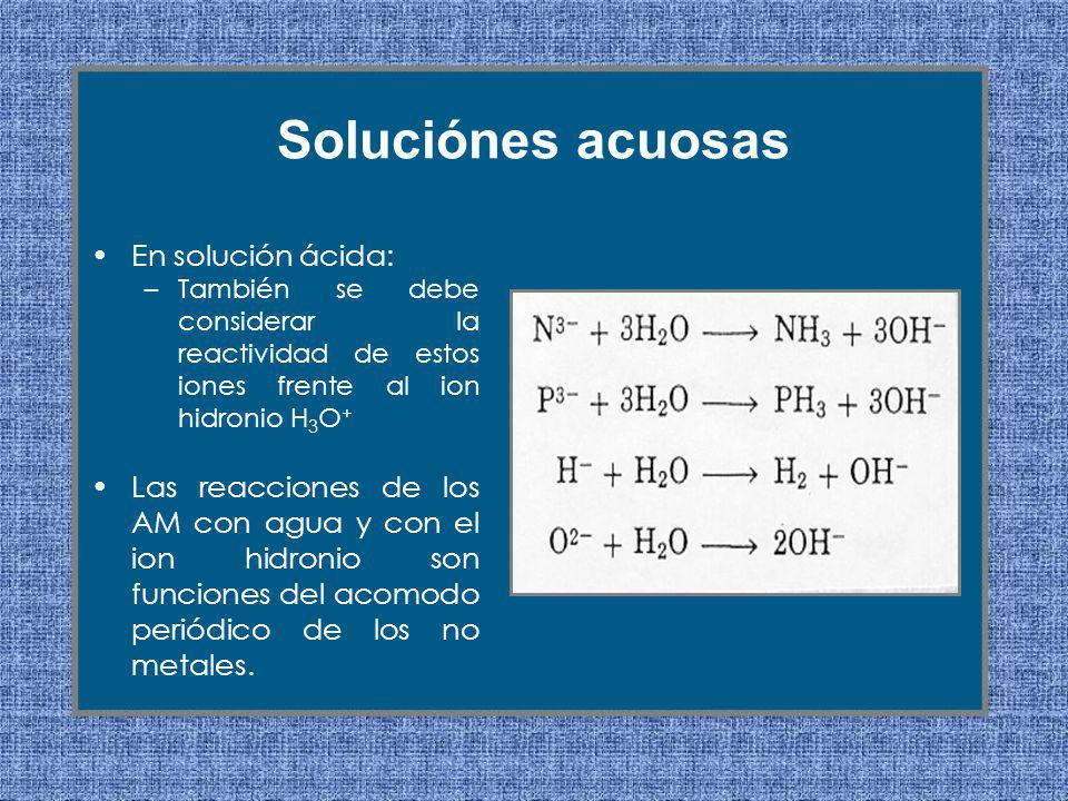 En solución ácida: –También se debe considerar la reactividad de estos iones frente al ion hidronio H 3 O + Las reacciones de los AM con agua y con el