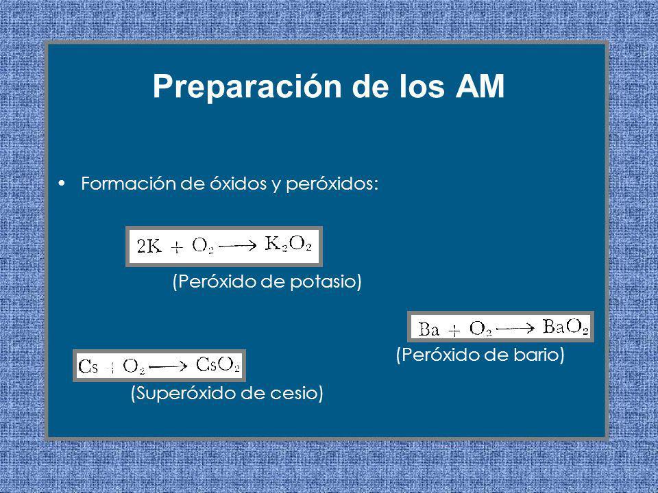 Formación de óxidos y peróxidos: Preparación de los AM (Peróxido de potasio) (Peróxido de bario) (Superóxido de cesio)