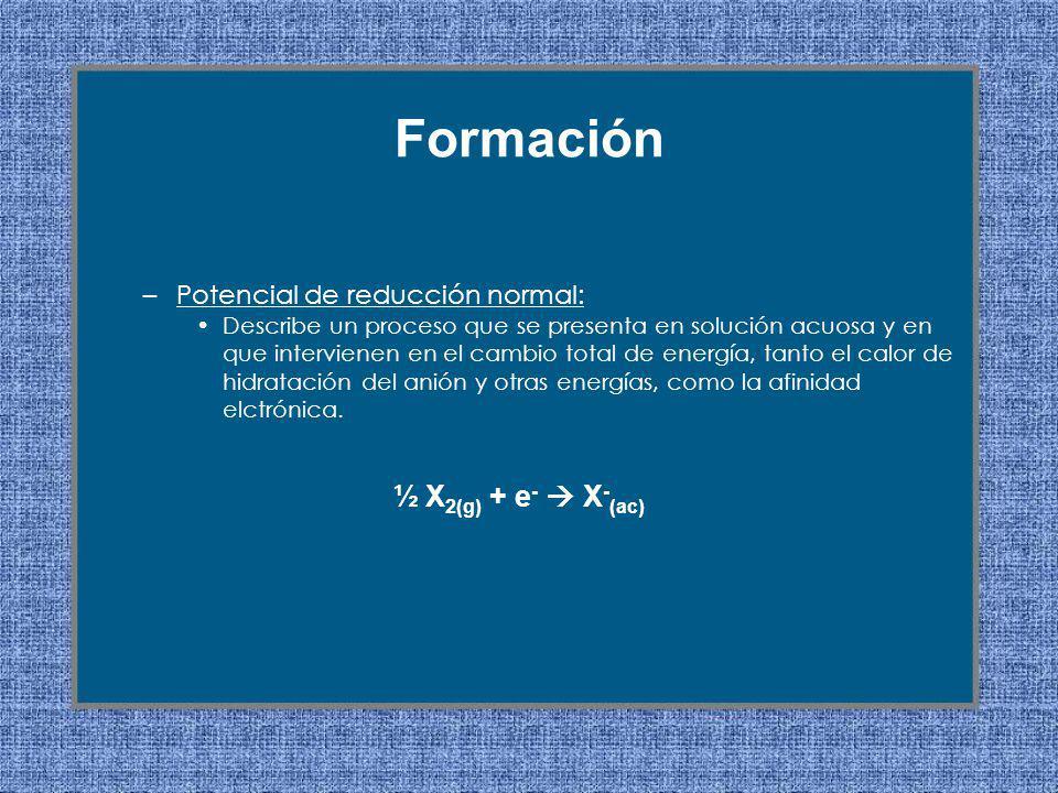 –Potencial de reducción normal: Describe un proceso que se presenta en solución acuosa y en que intervienen en el cambio total de energía, tanto el ca