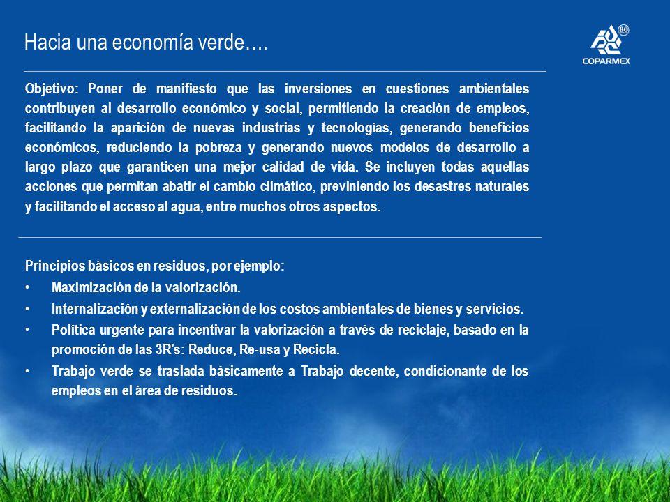 Hacia una economía verde…. Objetivo: Poner de manifiesto que las inversiones en cuestiones ambientales contribuyen al desarrollo económico y social, p