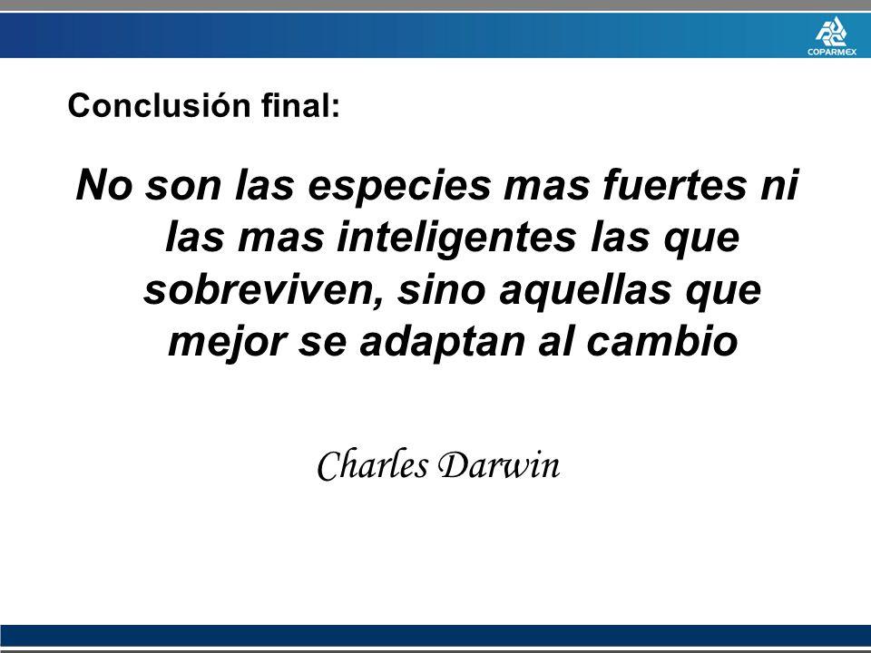 No son las especies mas fuertes ni las mas inteligentes las que sobreviven, sino aquellas que mejor se adaptan al cambio Charles Darwin Conclusión fin