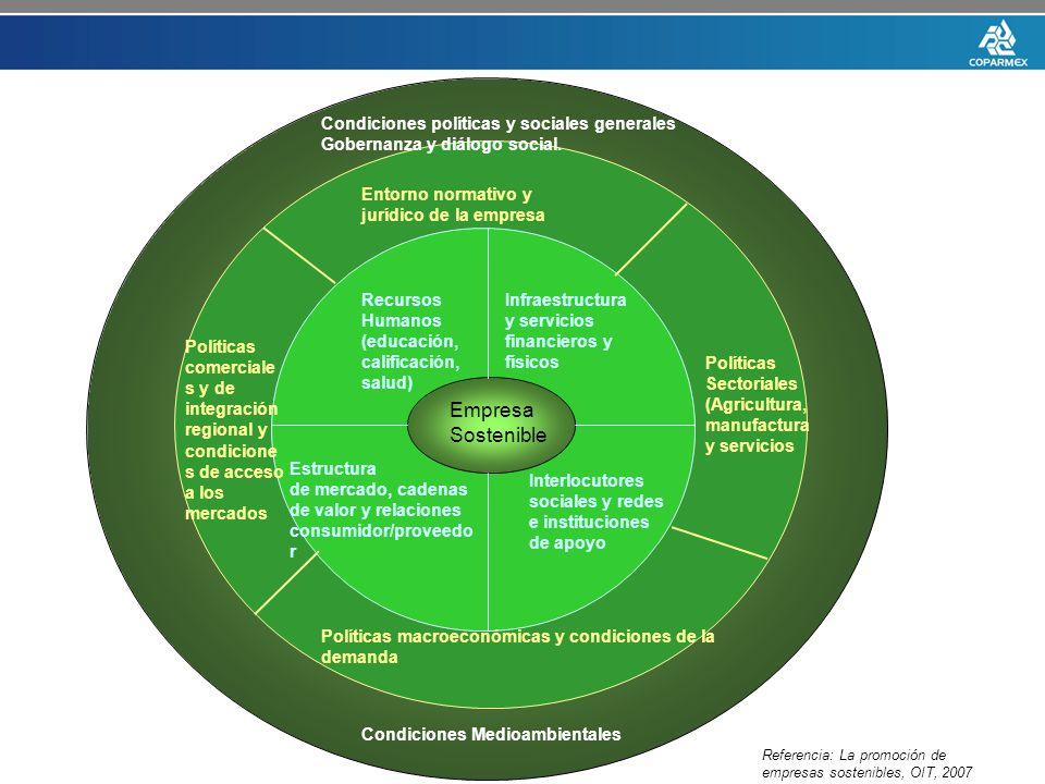 Empresa Sostenible Recursos Humanos (educación, calificación, salud) Infraestructura y servicios financieros y físicos Estructura de mercado, cadenas