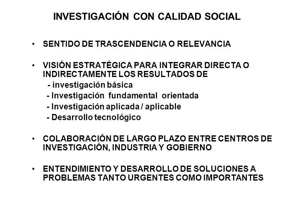 INVESTIGACIÓN CON CALIDAD SOCIAL SENTIDO DE TRASCENDENCIA O RELEVANCIA VISIÓN ESTRATÉGICA PARA INTEGRAR DIRECTA O INDIRECTAMENTE LOS RESULTADOS DE - investigación básica - Investigación fundamental orientada - Investigación aplicada / aplicable - Desarrollo tecnológico COLABORACIÓN DE LARGO PLAZO ENTRE CENTROS DE INVESTIGACIÓN, INDUSTRIA Y GOBIERNO ENTENDIMIENTO Y DESARROLLO DE SOLUCIONES A PROBLEMAS TANTO URGENTES COMO IMPORTANTES