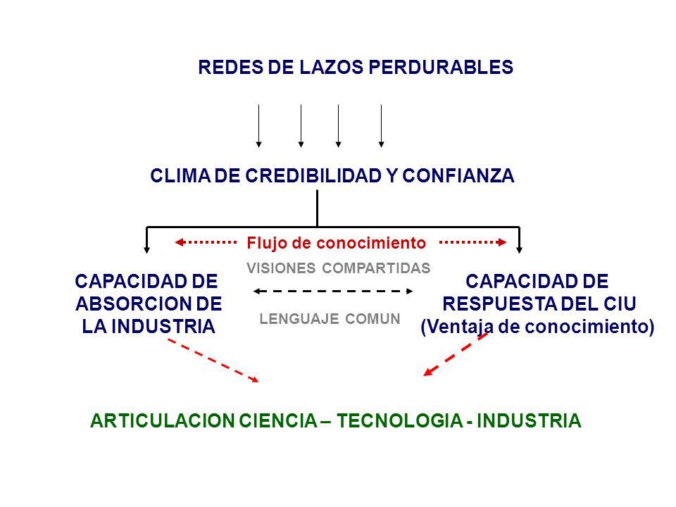ARTICULACION CIENCIA – TECNOLOGIA - INDUSTRIA CAPACIDAD DE ABSORCION DE LA INDUSTRIA CLIMA DE CREDIBILIDAD Y CONFIANZA REDES DE LAZOS PERDURABLES CAPACIDAD DE RESPUESTA DEL CIU (Ventaja de conocimiento) VISIONES COMPARTIDAS LENGUAJE COMUN Flujo de conocimiento