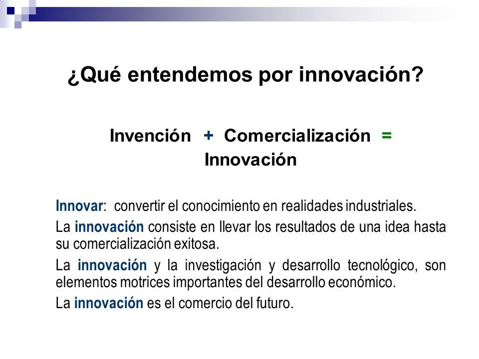 Invención + Comercialización = Innovación Innovar : convertir el conocimiento en realidades industriales. La innovación consiste en llevar los resulta