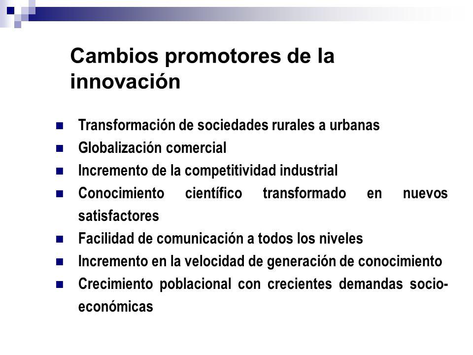 Transformación de sociedades rurales a urbanas Globalización comercial Incremento de la competitividad industrial Conocimiento científico transformado