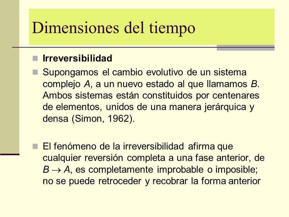 Dimensiones del tiempo Irreversibilidad Supongamos el cambio evolutivo de un sistema complejo A, a un nuevo estado al que llamamos B. Ambos sistemas e