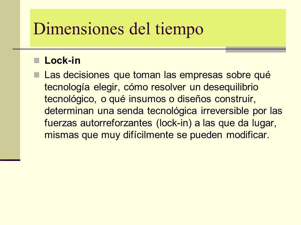 Dimensiones del tiempo Lock-in Las decisiones que toman las empresas sobre qué tecnología elegir, cómo resolver un desequilibrio tecnológico, o qué in