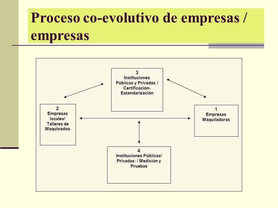 Proceso co-evolutivo de empresas / empresas 3 Instituciones Públicas y Privadas / Certificación- Estandarización 2 Empresas locales/ Talleres de Maqui