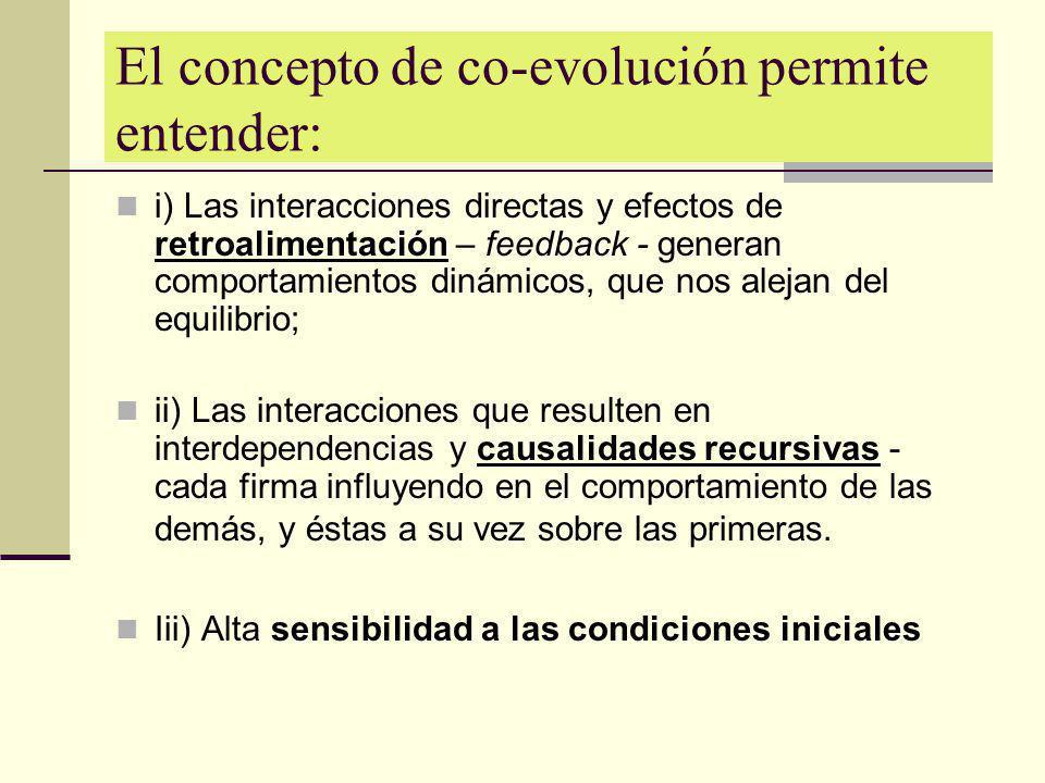 El concepto de co-evolución permite entender: i) Las interacciones directas y efectos de retroalimentación – feedback - generan comportamientos dinámi