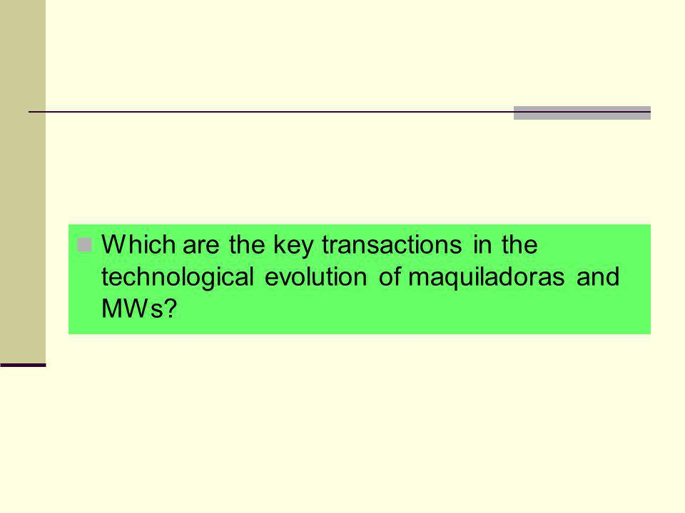 Which are the key transactions in the technological evolution of maquiladoras and MWs?