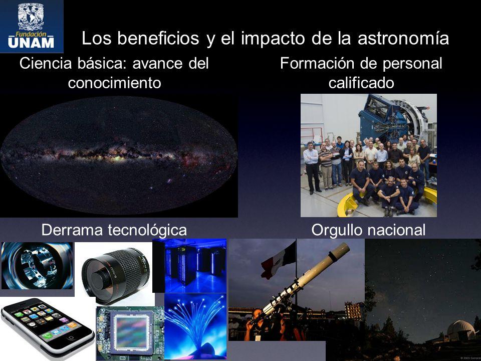 Los beneficios y el impacto de la astronomía Ciencia básica: avance del conocimiento Formación de personal calificado Derrama tecnológicaOrgullo nacional