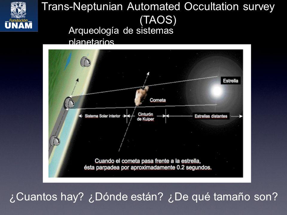 Trans-Neptunian Automated Occultation survey (TAOS) Arqueología de sistemas planetarios ¿Cuantos hay.
