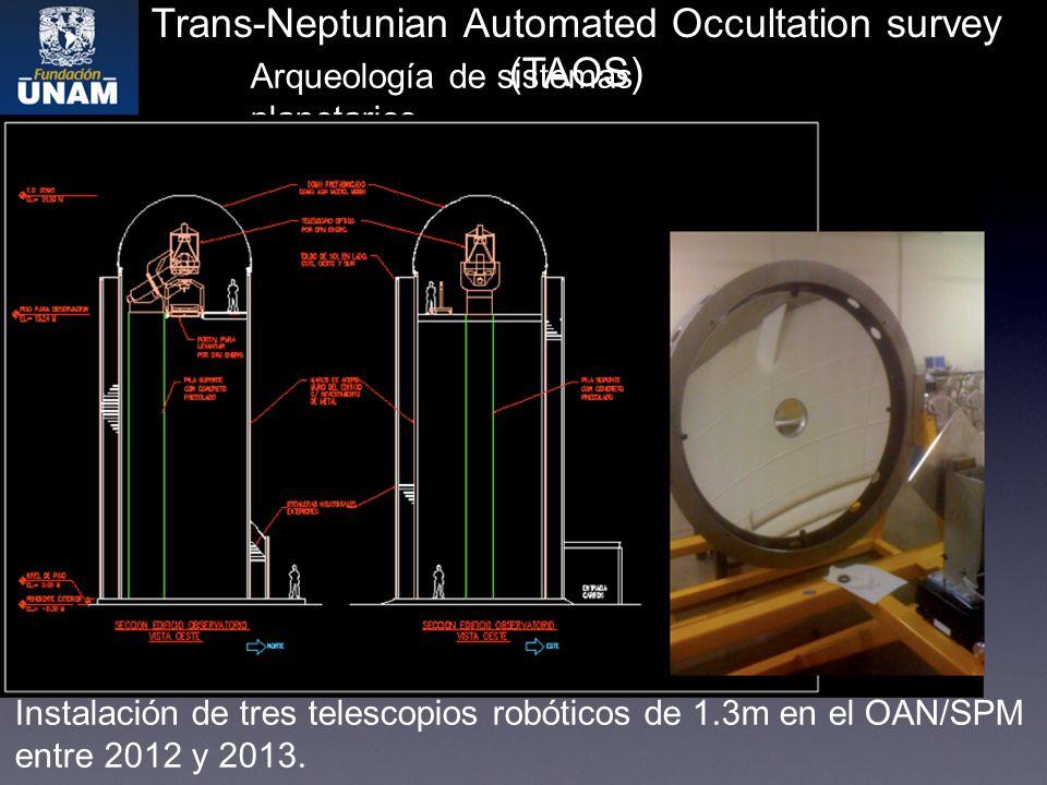 Trans-Neptunian Automated Occultation survey (TAOS) Arqueología de sistemas planetarios Instalación de tres telescopios robóticos de 1.3m en el OAN/SPM entre 2012 y 2013.