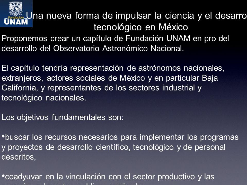 Proponemos crear un capítulo de Fundación UNAM en pro del desarrollo del Observatorio Astronómico Nacional.