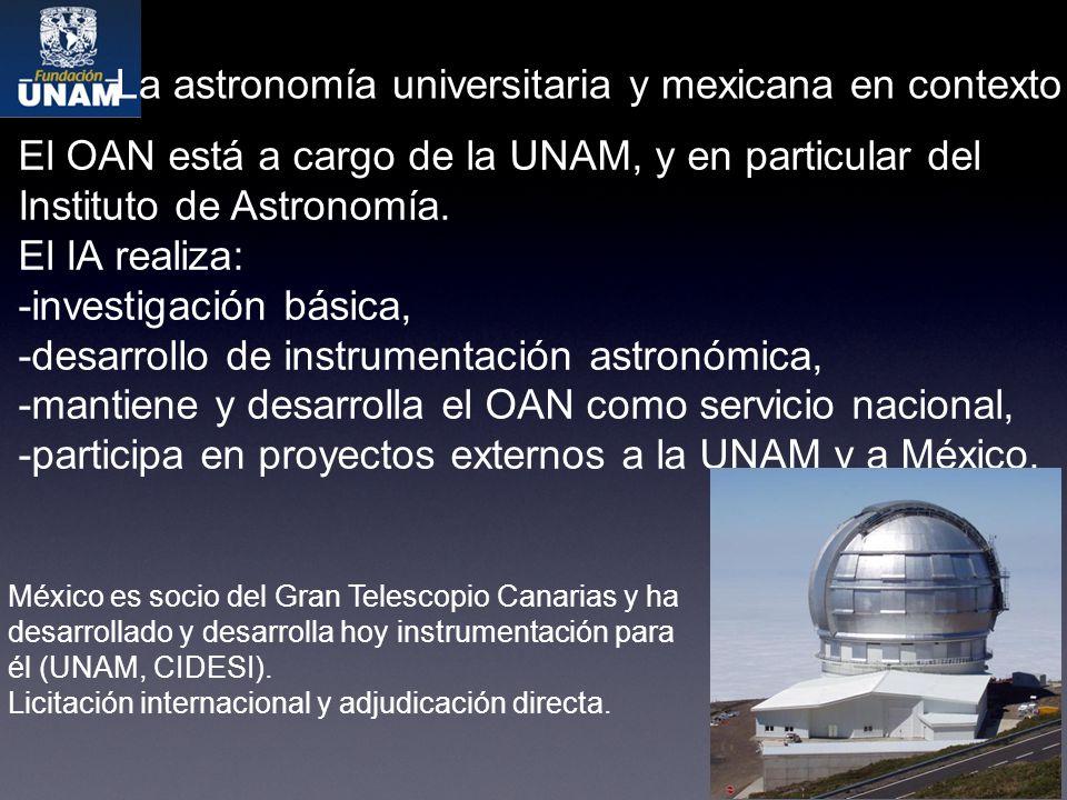 La astronomía universitaria y mexicana en contexto México es socio del Gran Telescopio Canarias y ha desarrollado y desarrolla hoy instrumentación para él (UNAM, CIDESI).