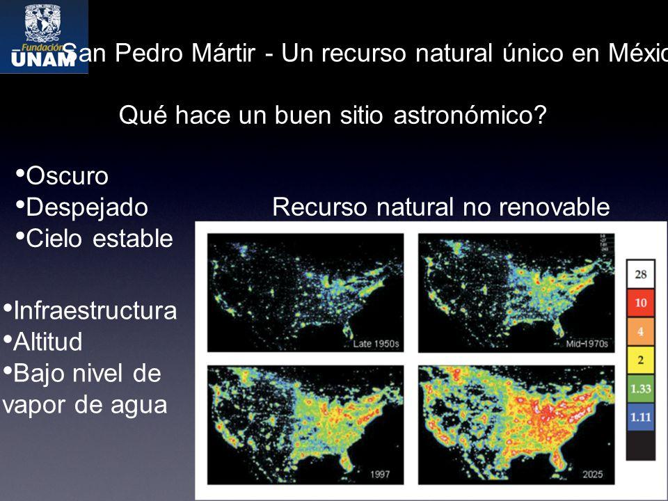 San Pedro Mártir - Un recurso natural único en México Qué hace un buen sitio astronómico.