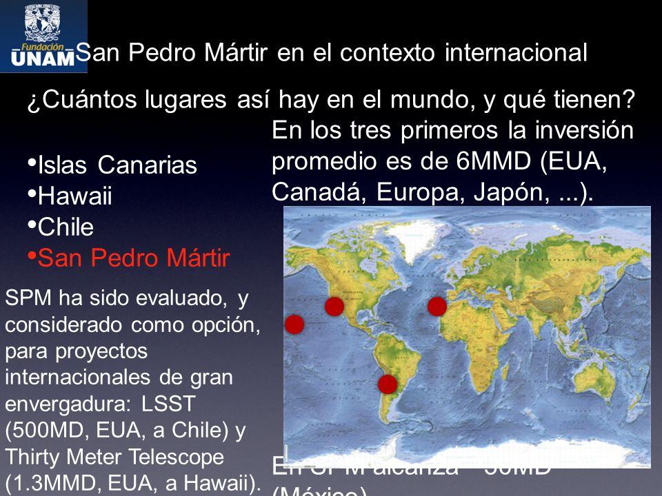 San Pedro Mártir en el contexto internacional Islas Canarias Hawaii Chile San Pedro Mártir ¿Cuántos lugares así hay en el mundo, y qué tienen.