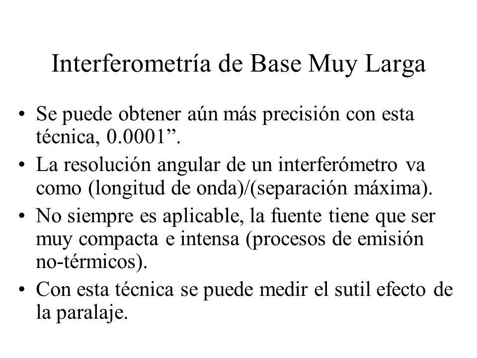 Interferometría de Base Muy Larga Se puede obtener aún más precisión con esta técnica, 0.0001.