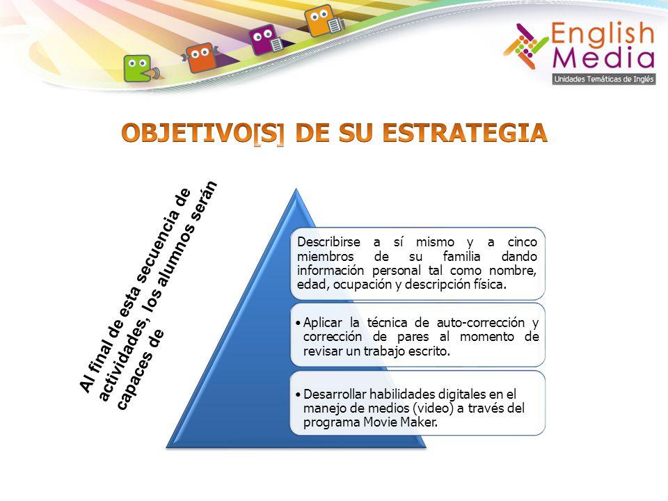 Conocimiento s y/o habilidad [es] que pueden desarrollar en su estrategia Vocabulary Descriptive adjectives: tall, short, young, old, black, etc.