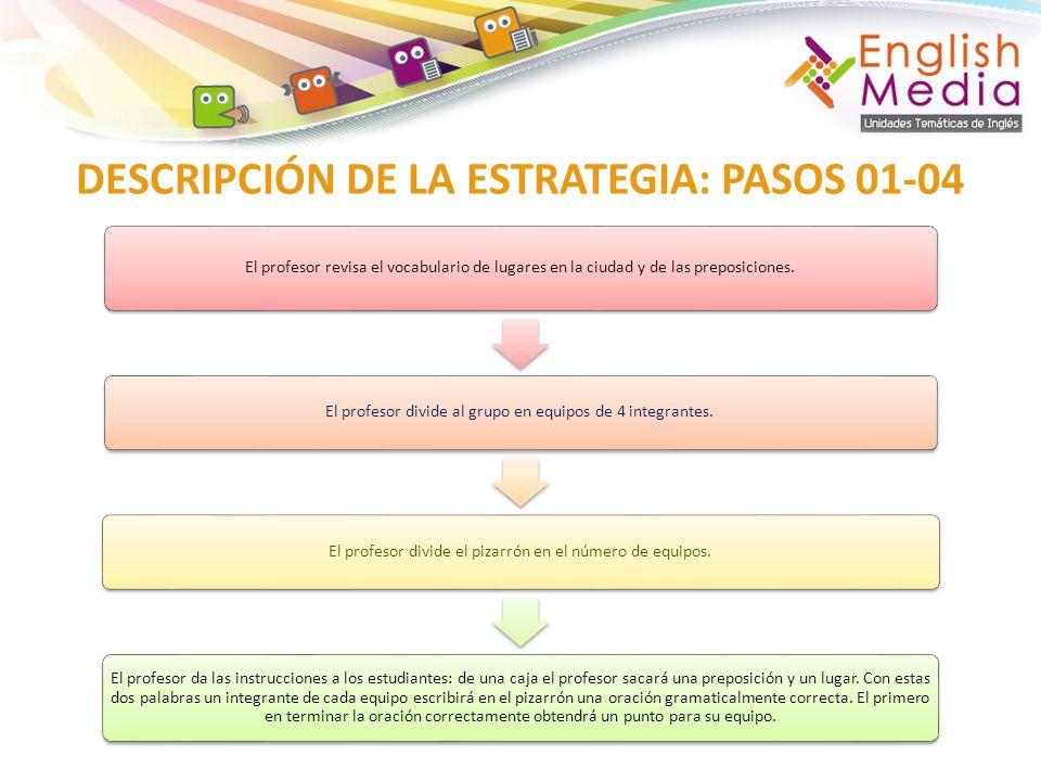 DESCRIPCIÓN DE LA ESTRATEGIA: PASOS 01-04 El profesor revisa el vocabulario de lugares en la ciudad y de las preposiciones. El profesor divide al grup