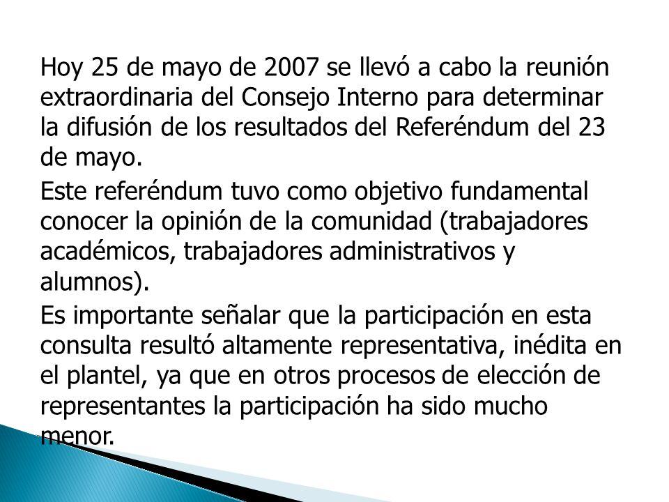 Hoy 25 de mayo de 2007 se llevó a cabo la reunión extraordinaria del Consejo Interno para determinar la difusión de los resultados del Referéndum del